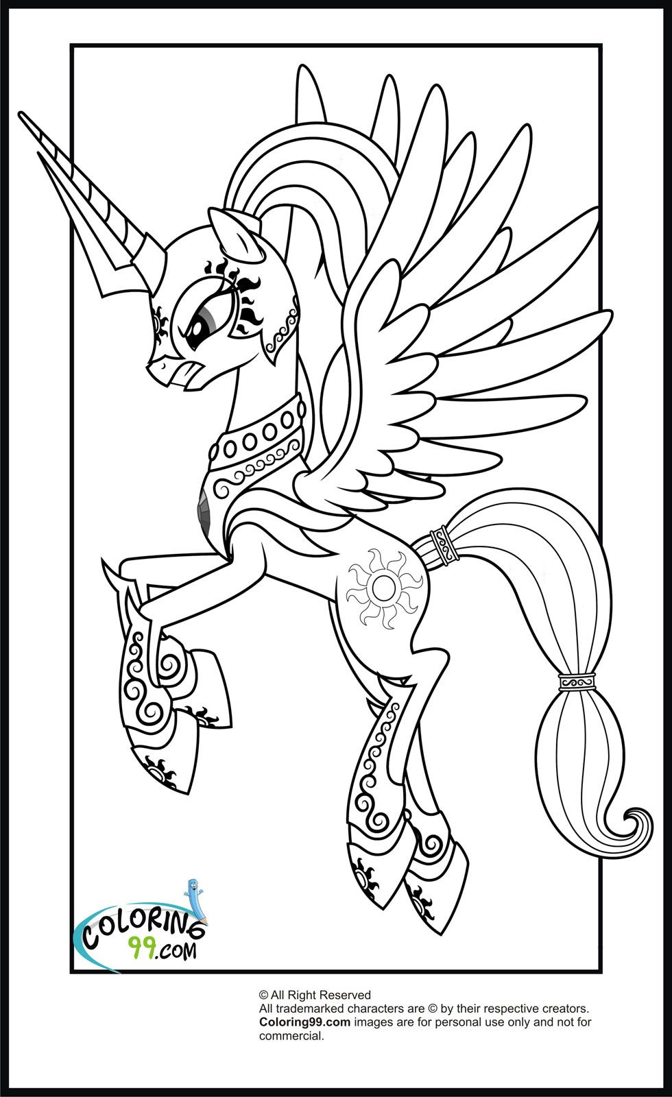 Young my little pony coloring pages - My Little Pony Princess Celestia Coloring Pages