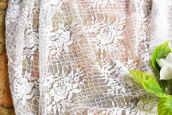 Lace Fabric White Rose Mesh Stretchy Wedding by miraculousfabric, $7.99