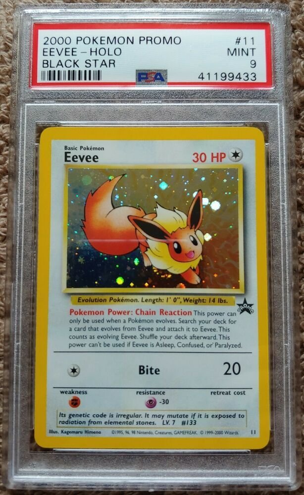 WOTC Rare Eevee Holo Pokemon Card Original Black Star Promo #11 PSA Mint Foil