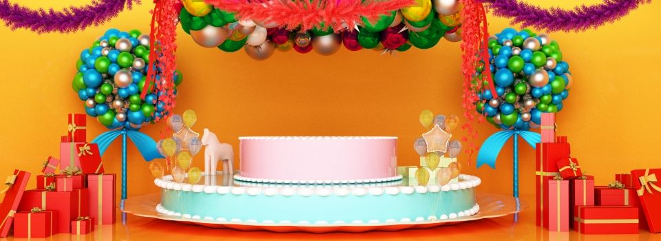 Full Style 3d Space Birthday Cake Stage Background Cake Background Celebration Background Birthday Party Images