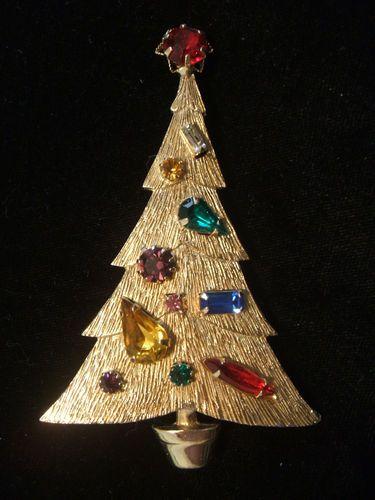 Large Old Rhinestone Christmas Tree Pin