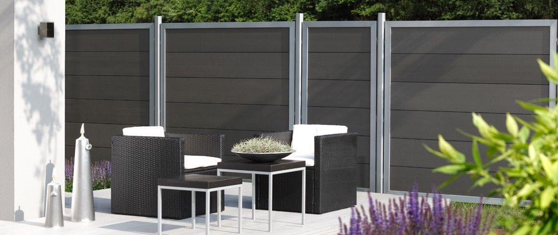 Design Wpc Alu Breite 1800 Mm Gartenzaun24 Sichtschutz Garten