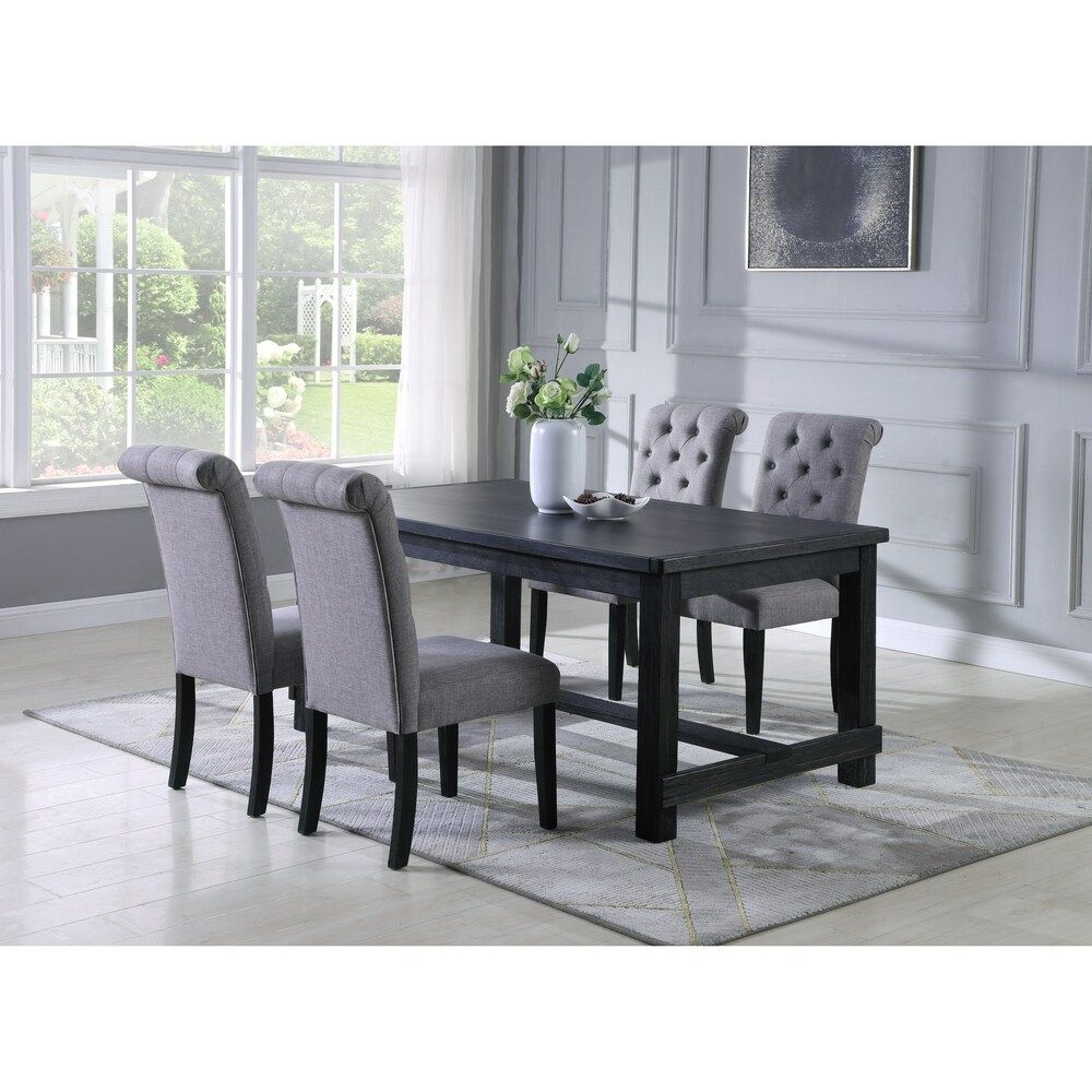 Leviton Antique Black Finished Wood Dining Set Table With Four
