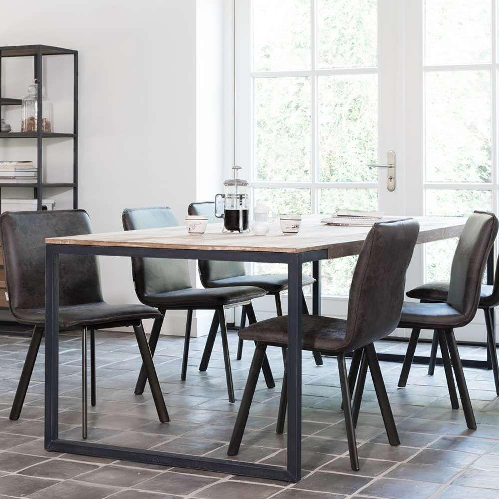Esstisch No 2 200 X 100 Cm Teakholz Metall In 2020 Teak Holz