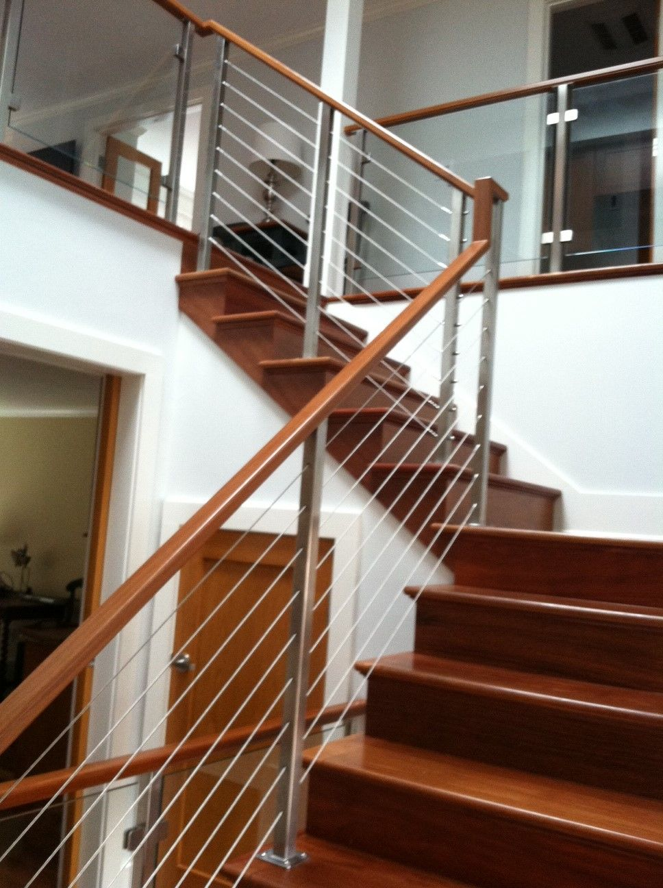 Best Teak Stairway With Stainless Cables And Glass Panels 400 x 300