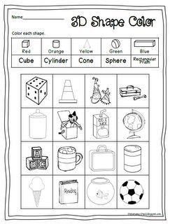 Free printable 3D shape worksheet to color (scroll down the page ...