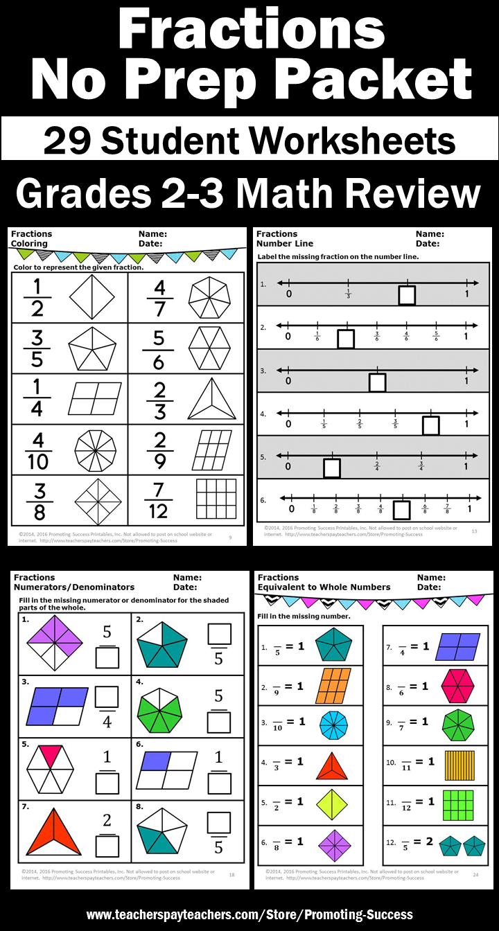 3rd Grade Math Fractions Worksheets No Prep Fractions On A Number Line And Pictorial Fractions Commo Fractions Worksheets 3rd Grade Fractions Math Fractions