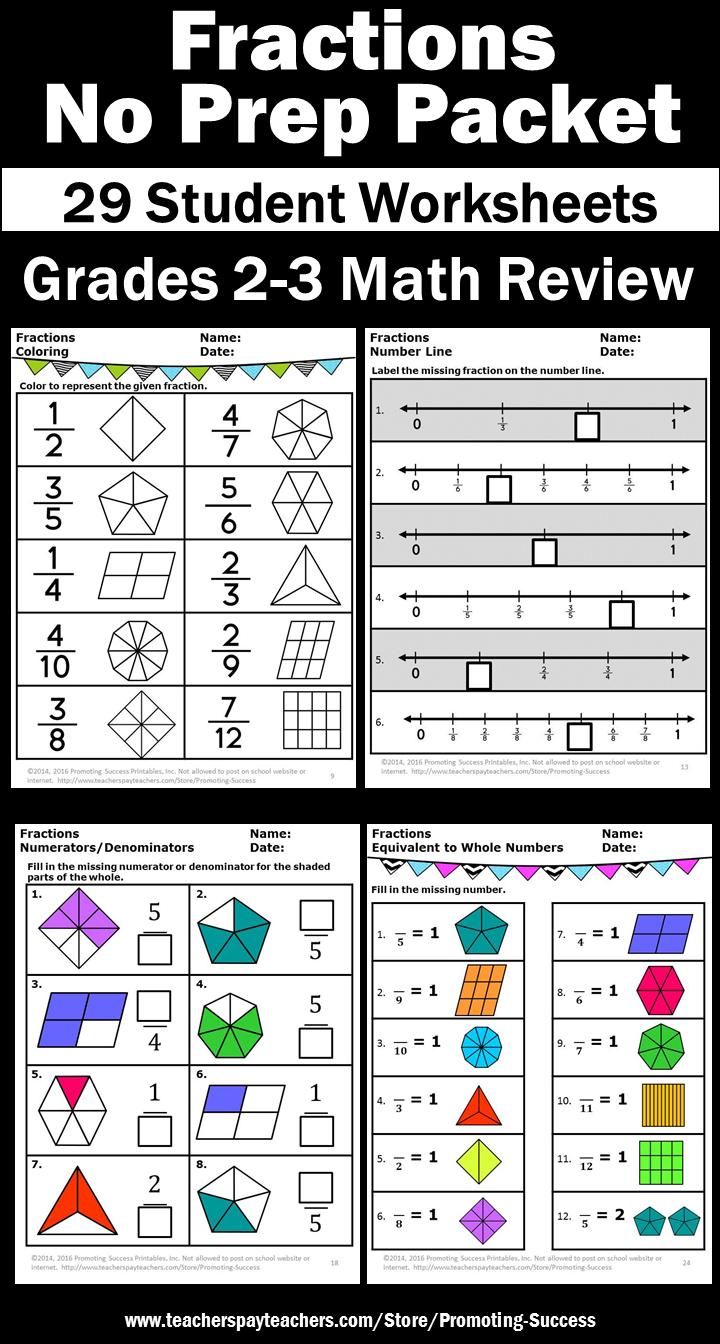 3rd Grade Math Fractions Worksheets [ 1344 x 720 Pixel ]