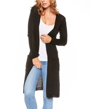 Icy Fashion Black Long Open Cardigan | Cardigan e Nero