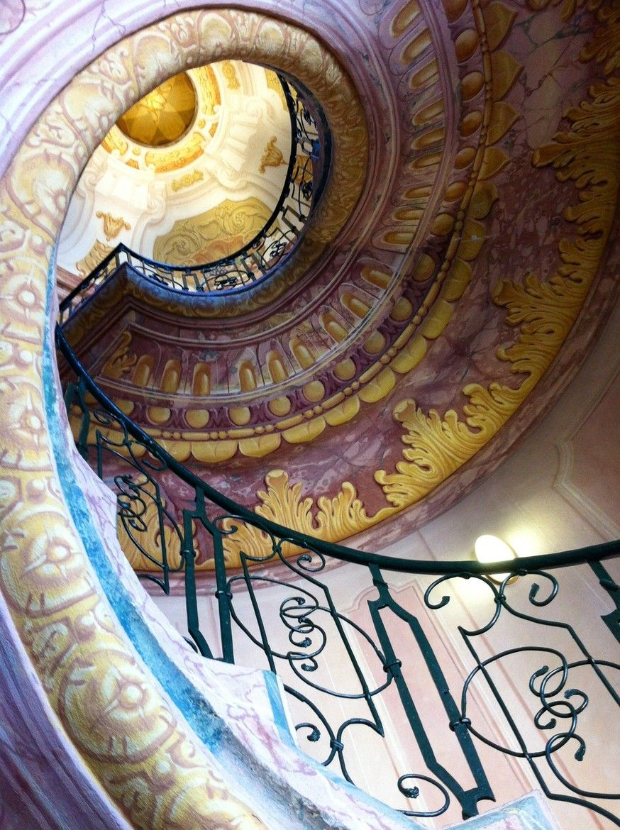 Melk Abbey Staircase Melk Austria It S Full Of Architectural Flourishes Like This Rococo Style Spiral Stair Stairway To Heaven Stairways Stairs To Heaven