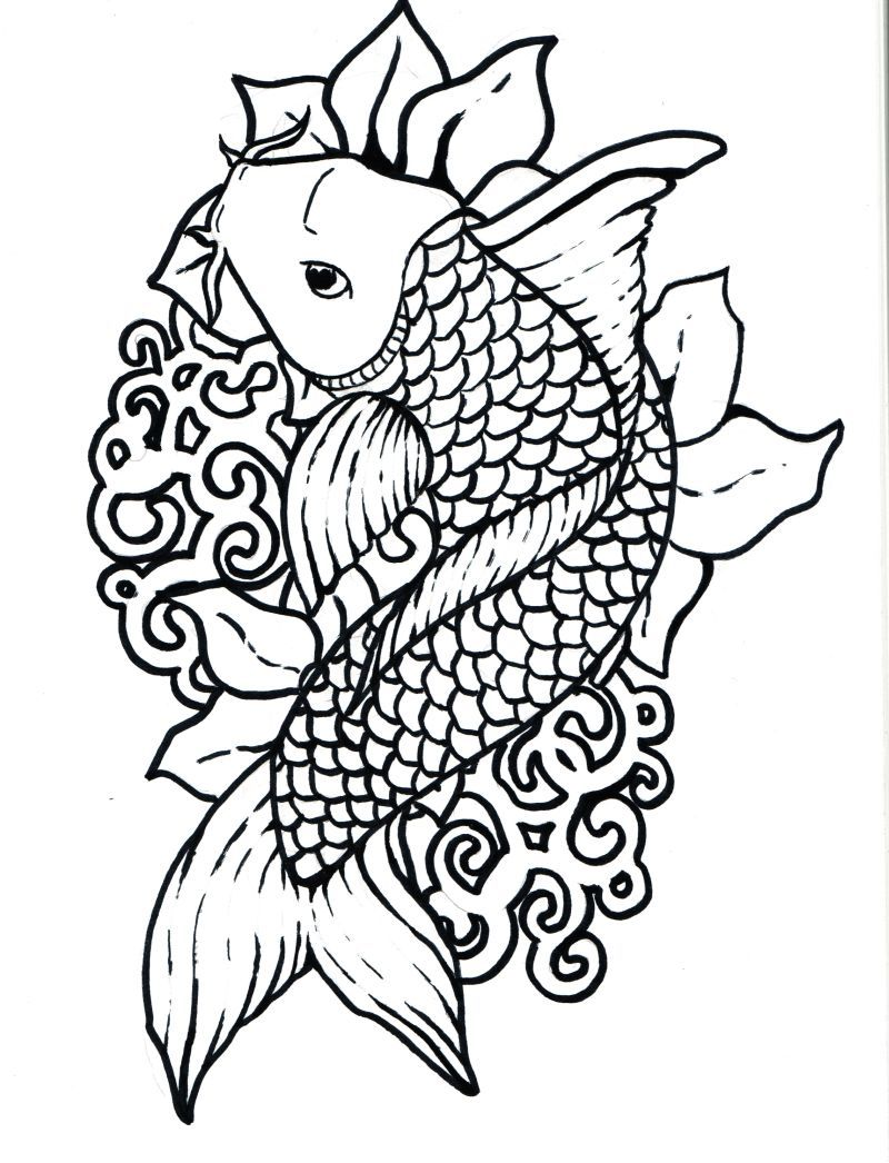 Free printable japanese coloring pages for adults - Japanese Art Coloring Pages Koi_fish_by_japanese_koi_fish Jpg L Mm Board