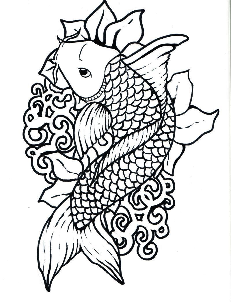 Japanese Art Coloring Pages Koi Fish By Japanese Koi Fish Jpg