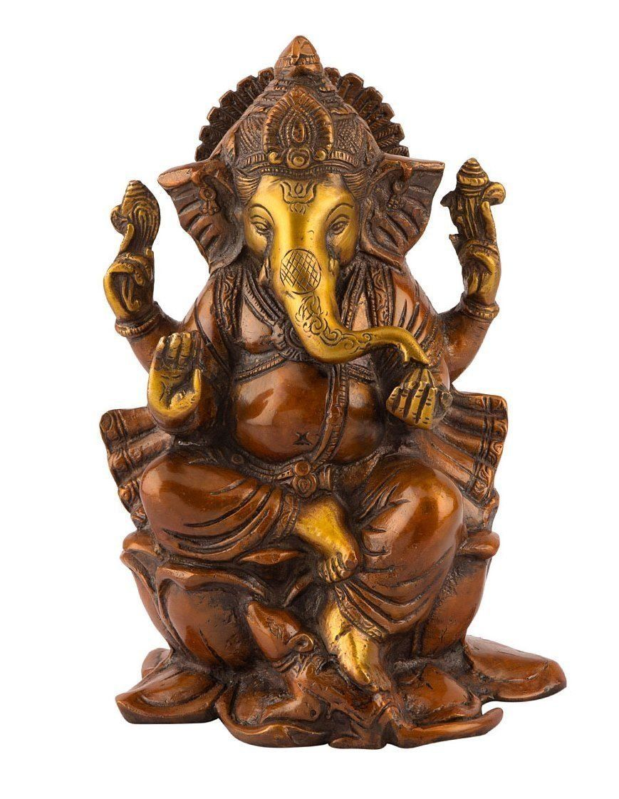 Collectible India Large Ganesh Idol Bronze Hindu Lord Elephant Br Sculpture Ganesha Statue Home Decoe Gifts