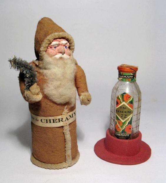 *1927 Cheramy Perfume Bottle Santa/Belsnickle Paper-Mache Box