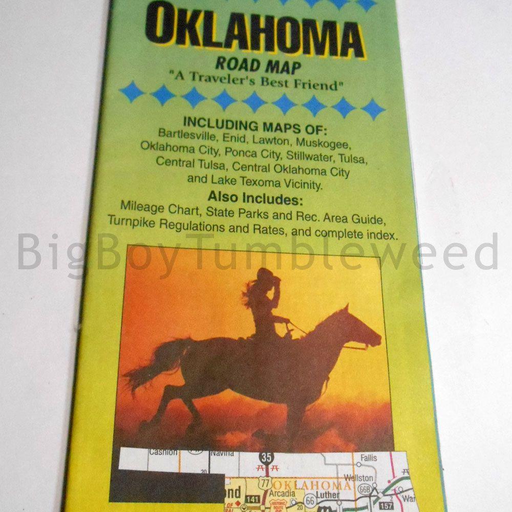 VINTAGE Diamond Cartography Oklahoma road Map travel souvenir