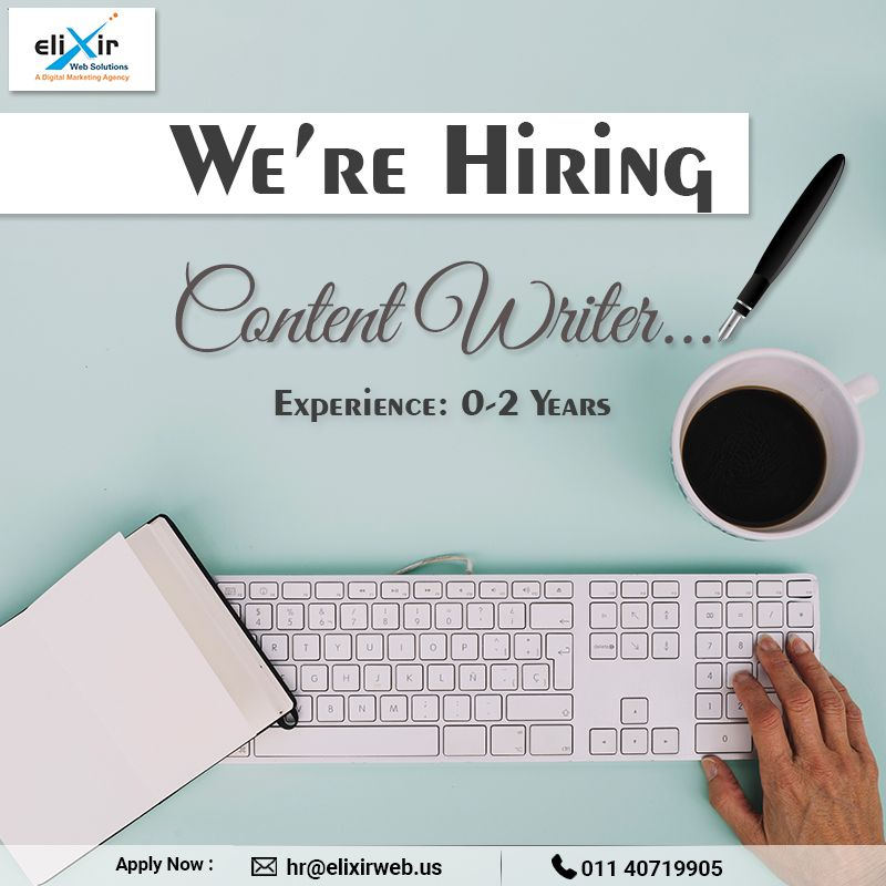 We're Hiring! Content Writer Location Delhi Send us your