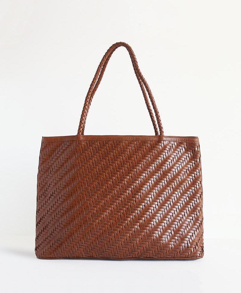 Kleine Bucket Bag aus gewobenem Leder Isabelle - Bembien