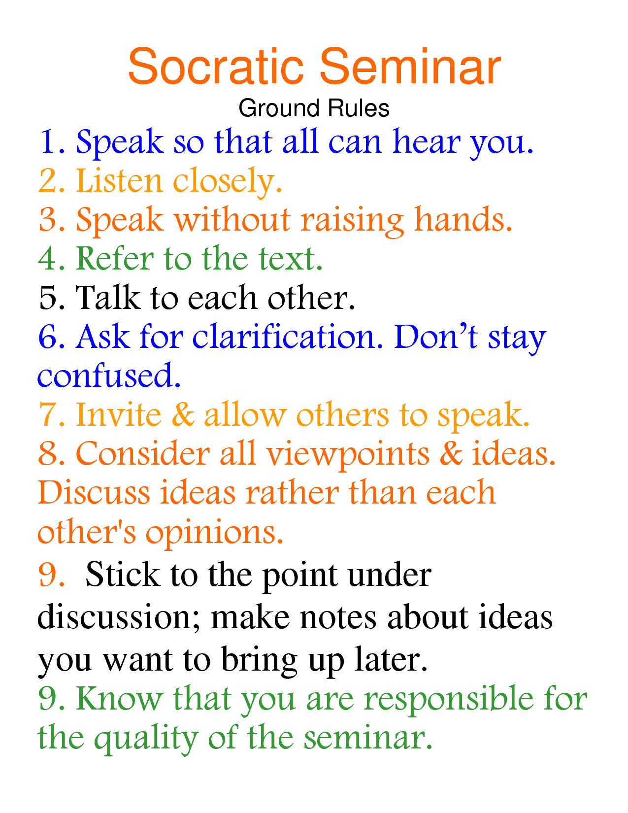 Socratic seminar socratic seminar ground rules teach for Socratic seminar lesson plan template