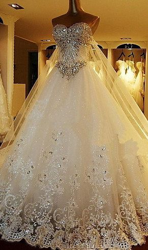 A Line Sweetheart Floor Length Organza Wedding Dress