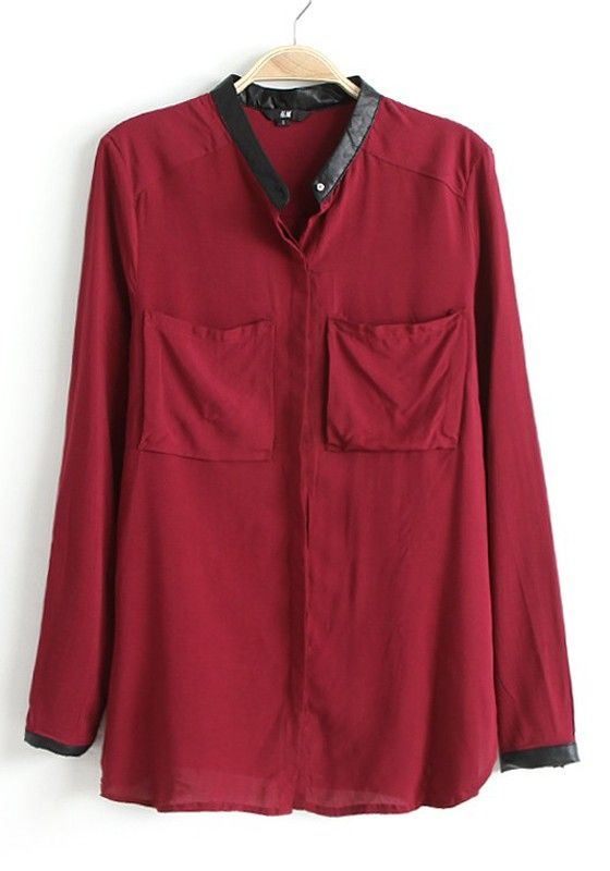 Claret-red Patchwork Band Collar Long Sleeve Chiffon Blouse