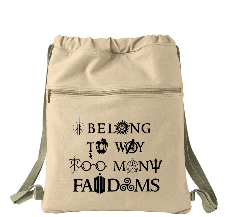 I Belong To Way Too Many Fandoms Multi Fandom Canvas Back Pack Drawstring Bag Canvas Cinch Sack Bag Fandoms Book Tote Bag Cinch Sack