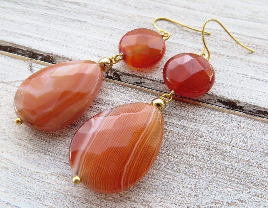 Orange Agate and Glass Beaded Earrings  Handmade Beaded Dangle Earrings