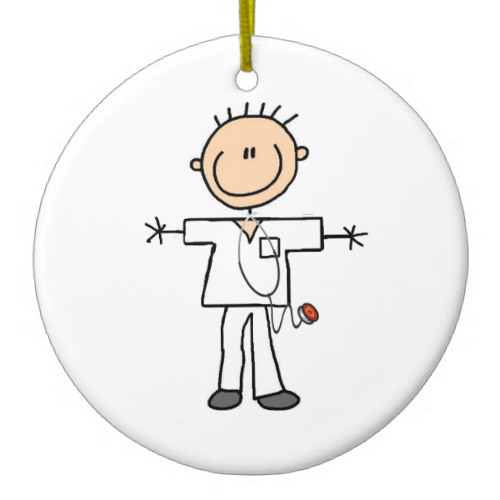 Male Stick Figure Nurse Christmas Tree Ornaments