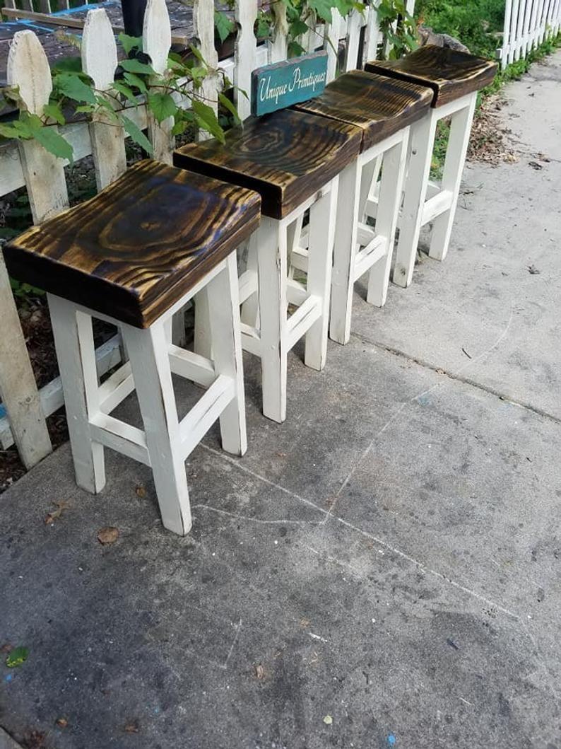 Farmhouse bar stools lot of four rustic farm house kitchen