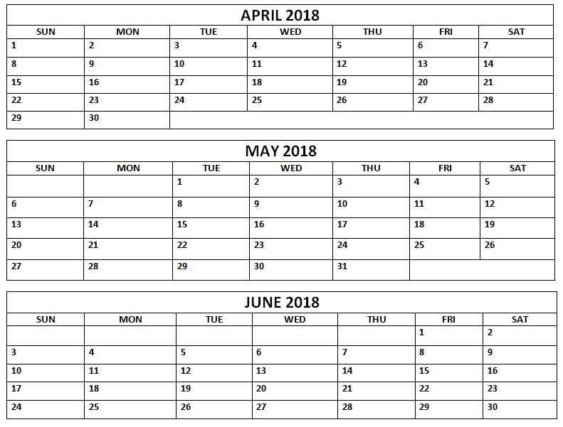 april may june 2018 calendar printable