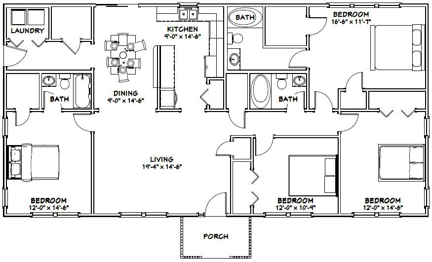 60x30 House 60x30h1a 1 800 Sq Ft Excellent Floor Plans Metal House Plans Barndominium Floor Plans House Projects Architecture