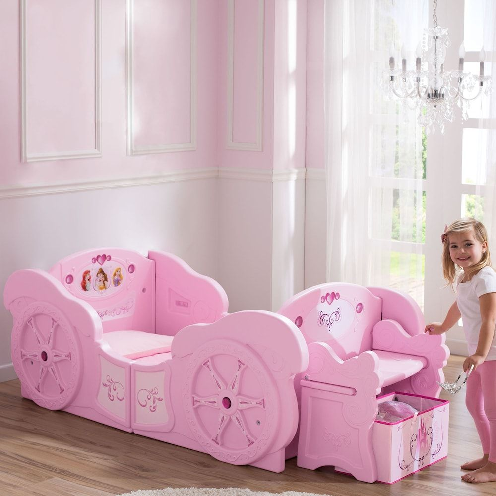Give your little princess a royal retreat at bedtime with this Disney Princess Carriage toddler-to-twin bed frame. © Disney Find the right mattress for baby's crib. Shop Now. Easily transforms from toddler to twin using the included conversion kit Toddler version holds standard crib mattress (not included) & twin version accommodates standard twin mattress (not included) Box spring & optional bunky board not included Removable storage bench Disney Princess easy-to-apply stickers Rhinestone acce