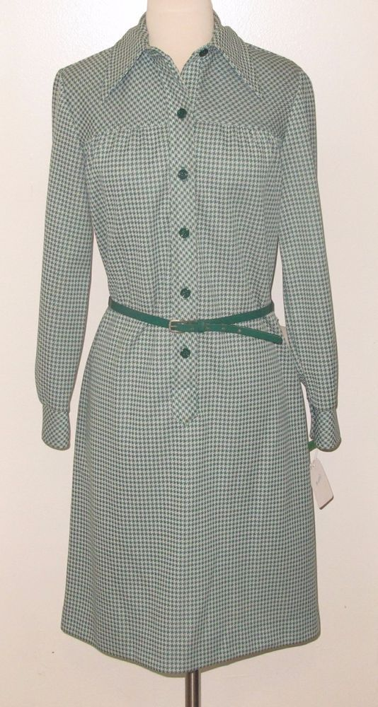 c.1960s COUNTRY MISS Sz. 12 Belted Dark Green & White Check A-Line Dress - NWT! #CountryMiss