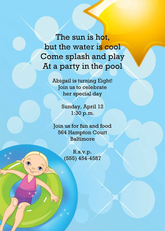 swimming pool party birthday invitation-stealing the wording, Party invitations