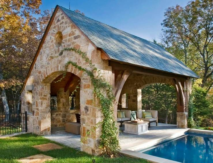 For the back yard, Fireplace and eating area.
