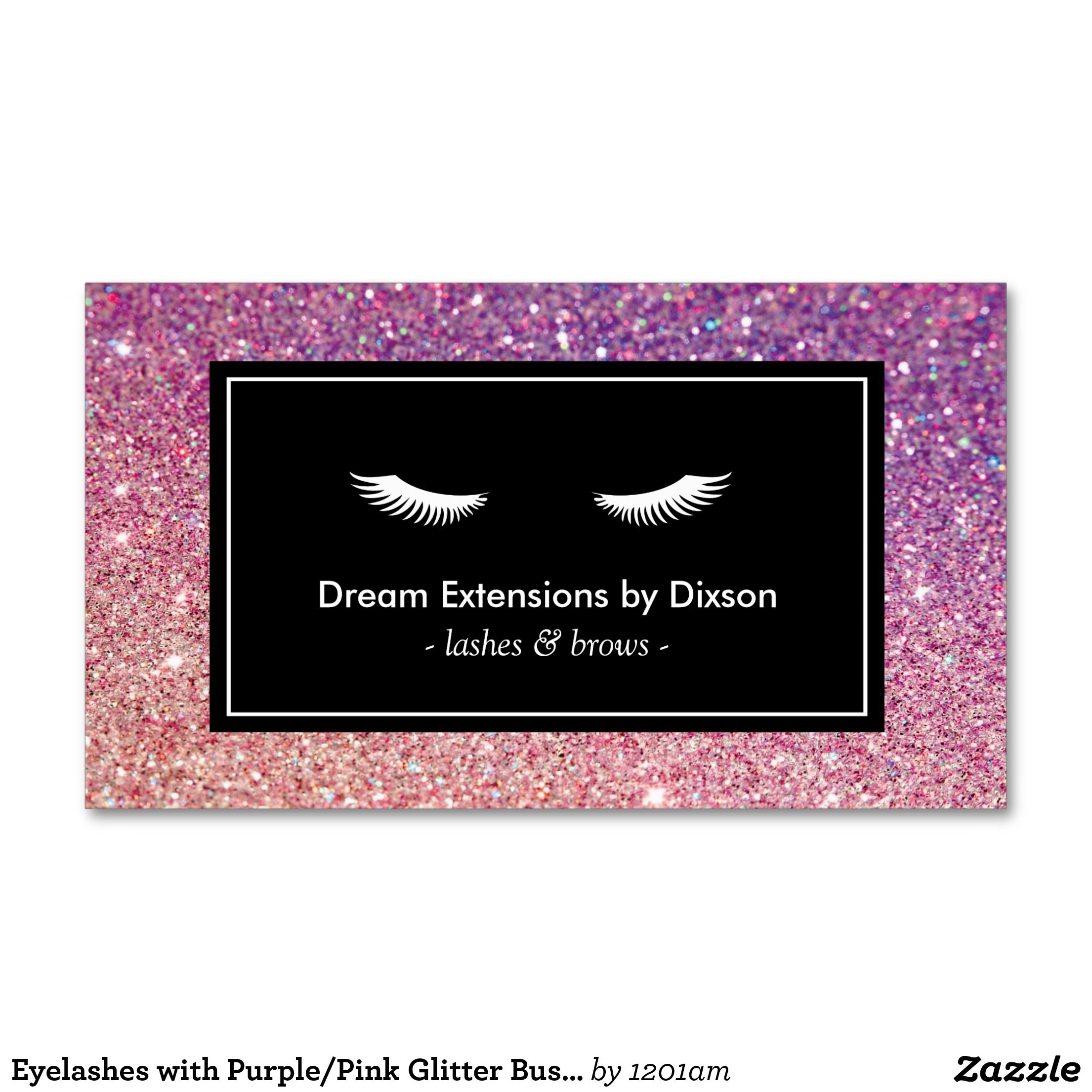 Eyelashes With Purple Pink Glitter Business Card