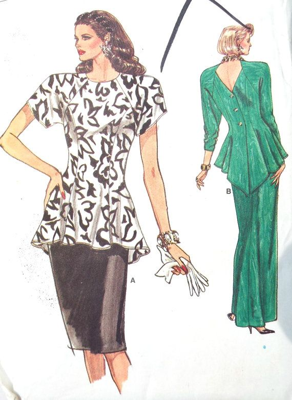 Vintage Vogue Easy Peplum Top Outfit Sewing Pattern Uncut Free UK ...