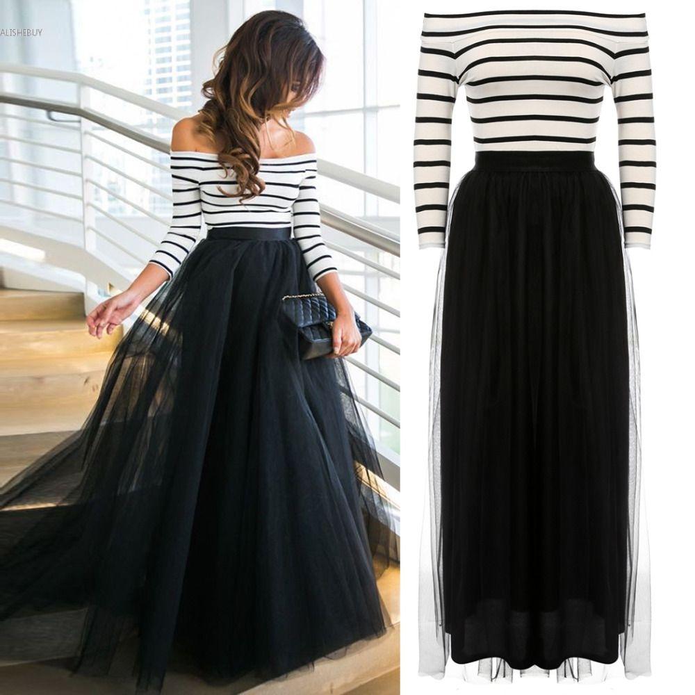 Vestido women maxi dress offshoulder striped high waist tutu ball
