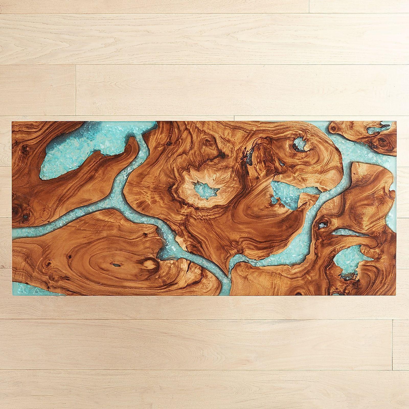 Moraine Wood & Teal Resin Coffee Table | Craft Ideas ...