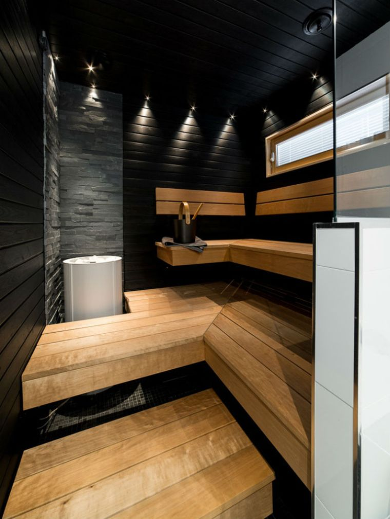 moderne sauna steinwand in der sauna schwarze wand in sauna schwarz und holz kombinieren eine. Black Bedroom Furniture Sets. Home Design Ideas