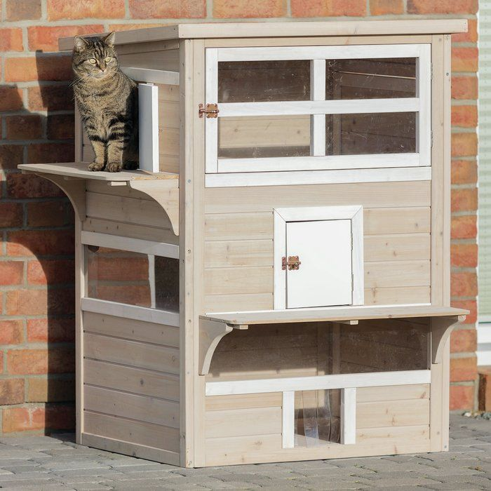 Trixie Rsquo S Natura Cat House Allows Your Cat To Enjoy The Outdoors While Having A Place To Call Her Own Thi Outdoor Cat House Wooden Cat House Outdoor Cats