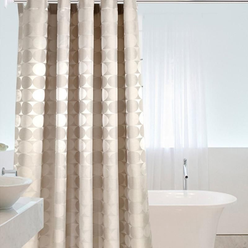 Elegant Circle Solid Shower Curtain Polyester Fabric Thick
