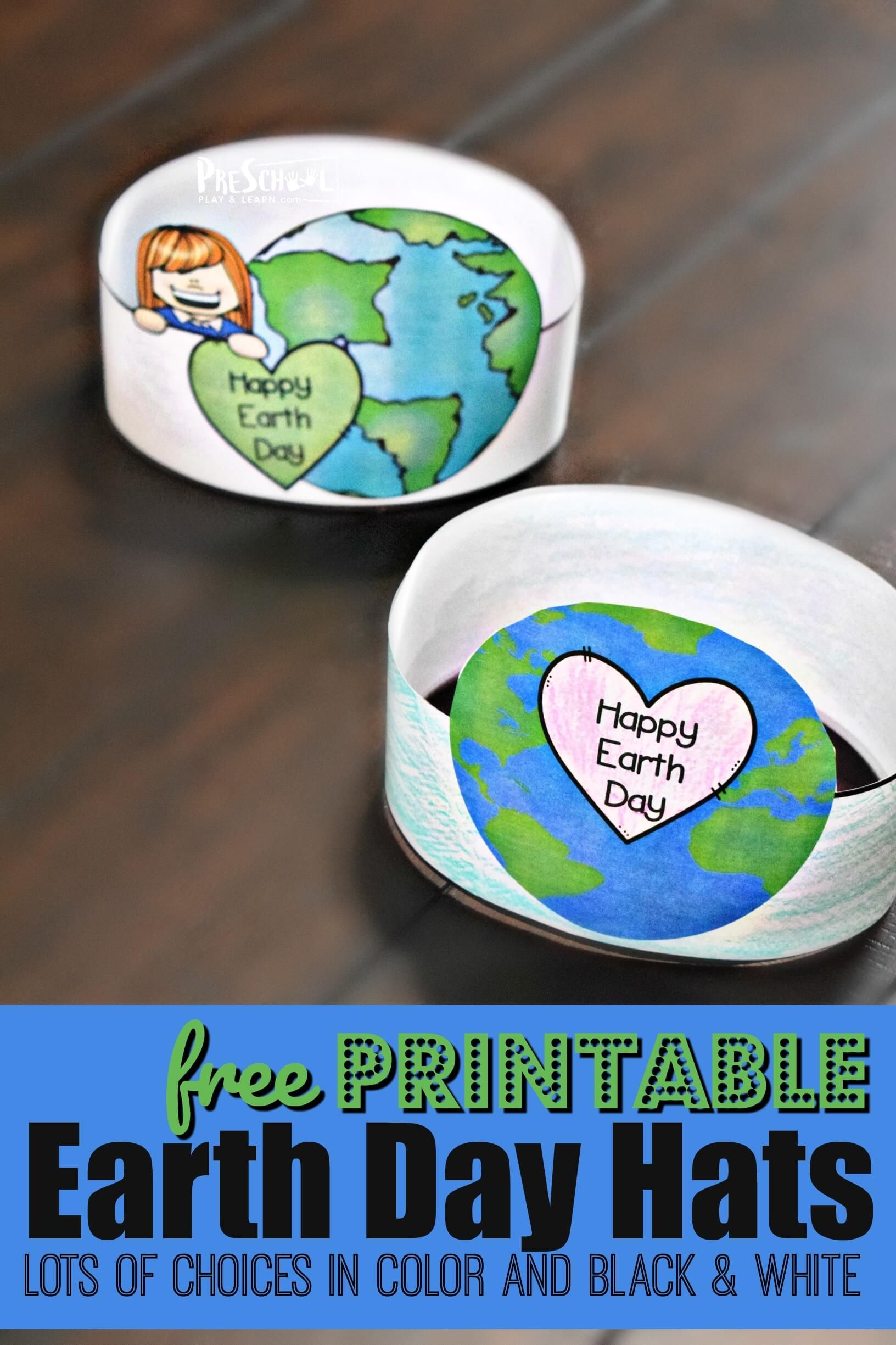 Printable Earth Day Hats In