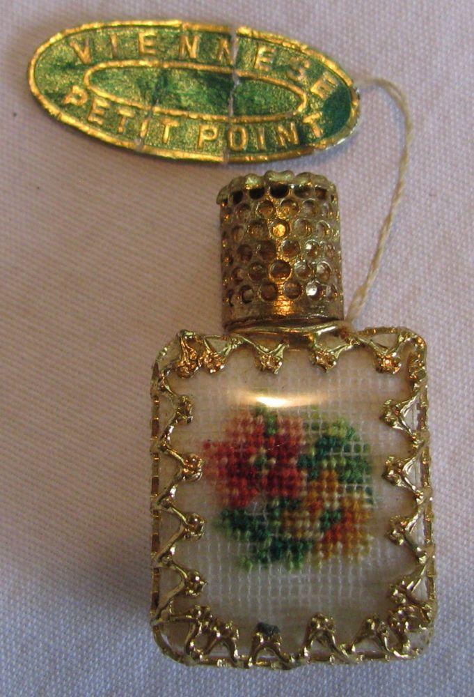 vintage miniature viennese petit point perfume with tag glass dauber nr vintage vanity