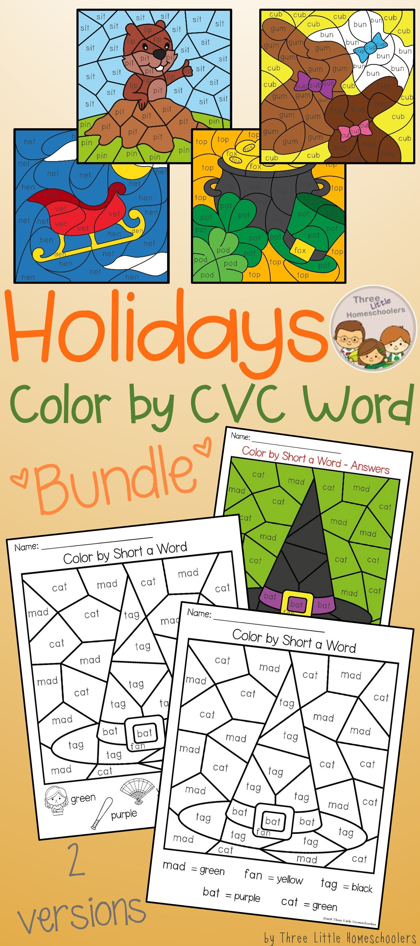 Color By Cvc Word Puzzles For 12 Holidays New Year S Eve
