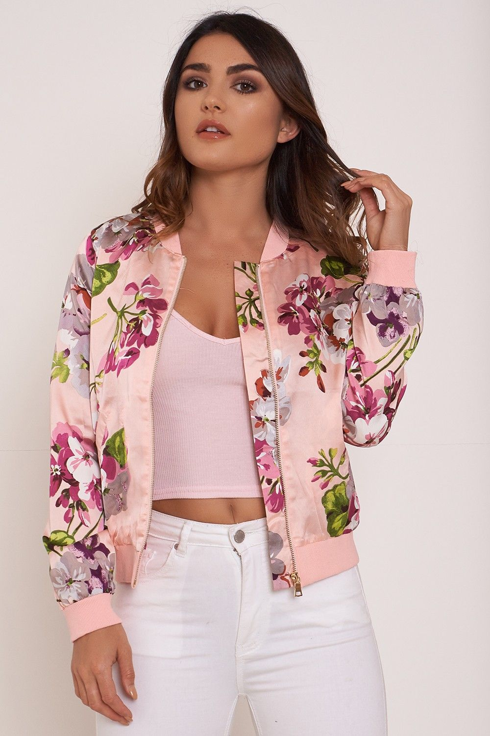 Pink Floral Print Bomber Jacket | New Look | Wish List // Fashion ...