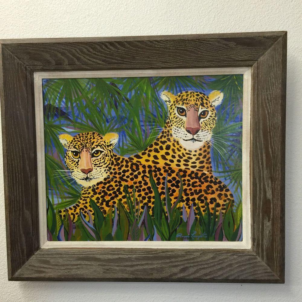Leopard Painting Vintage Folk Art Wall Decor Zoo Animals Bright ...