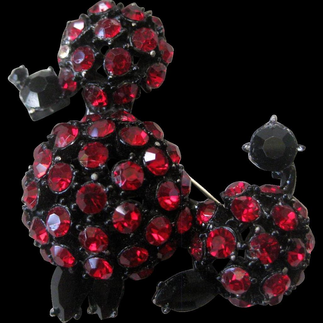 Unsigned Schreiner Deep Red & Jet Black Rhinestones japanned Poodle Vintage Brooch Pin