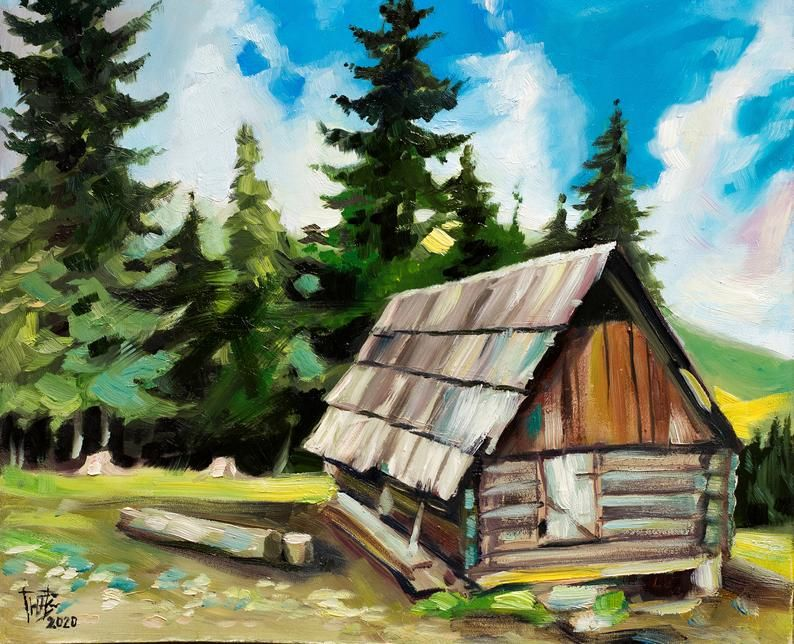 Mountain Landscape House In Mountains Painting Oil On Hardboard Old Wooden Barn Oil Painting Forest Landscape Oil Study In 2020 Spanish Decor Mountain Paintings Miami Decor