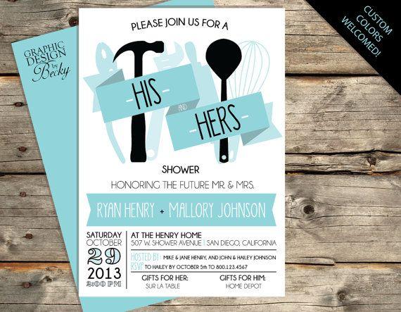 cc37b0fc507f His   Hers Shower Invitation - Ribbon and Utensil Design - A Printable  Bridal Shower Invitation Design via Etsy