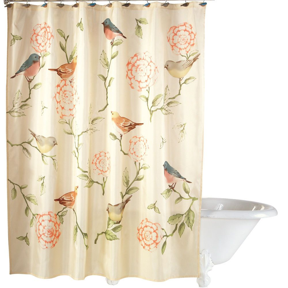 Birds And Blooms Floral Shower Curtain By Collections Etc Ebay